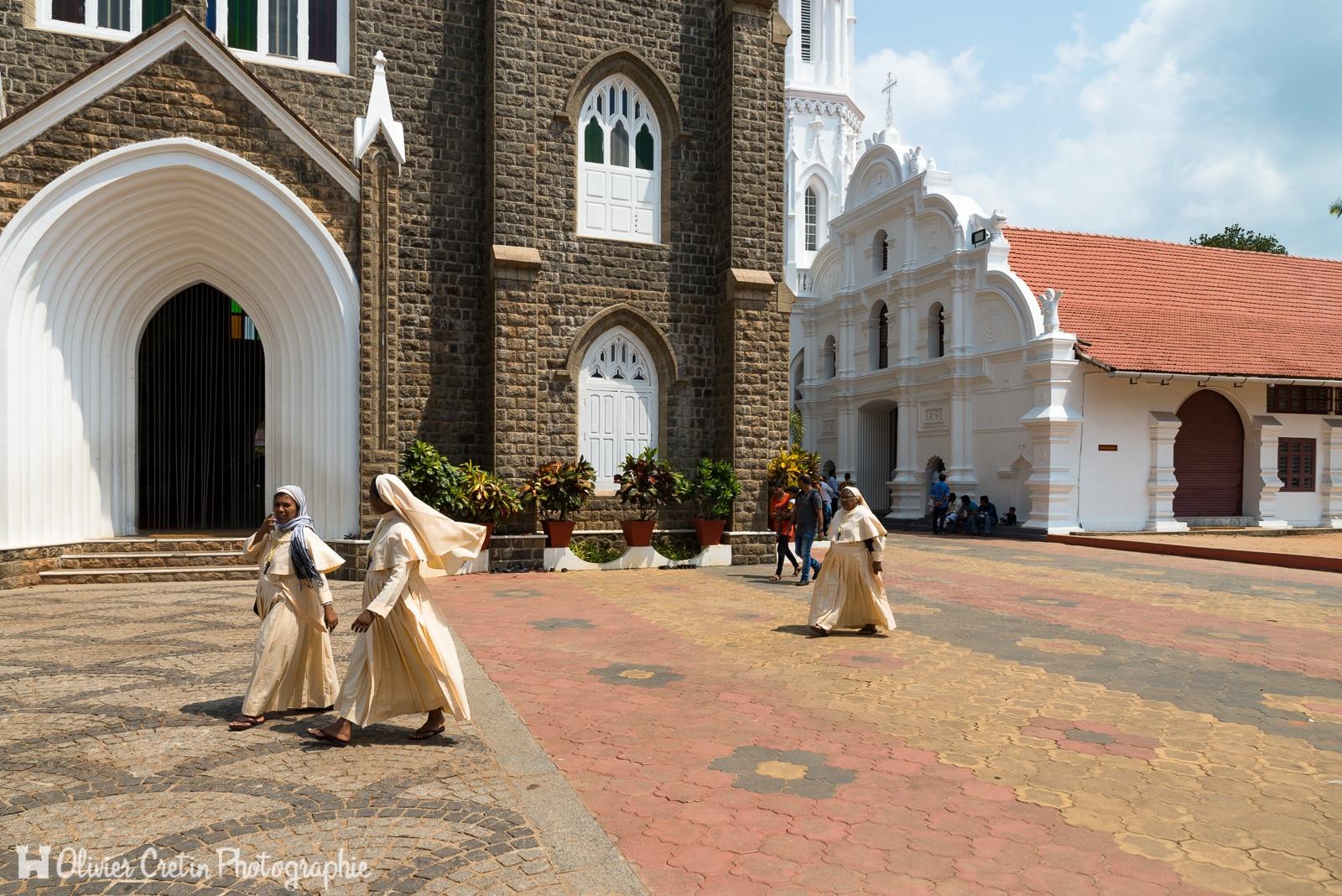 Inde - Centre chrétien de pèlerinage sur la route entre Marari beach et Kochi