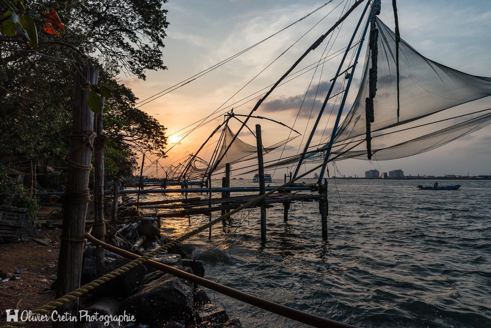 Inde - Fort Kochi - Les fameux filets de pêche chinois